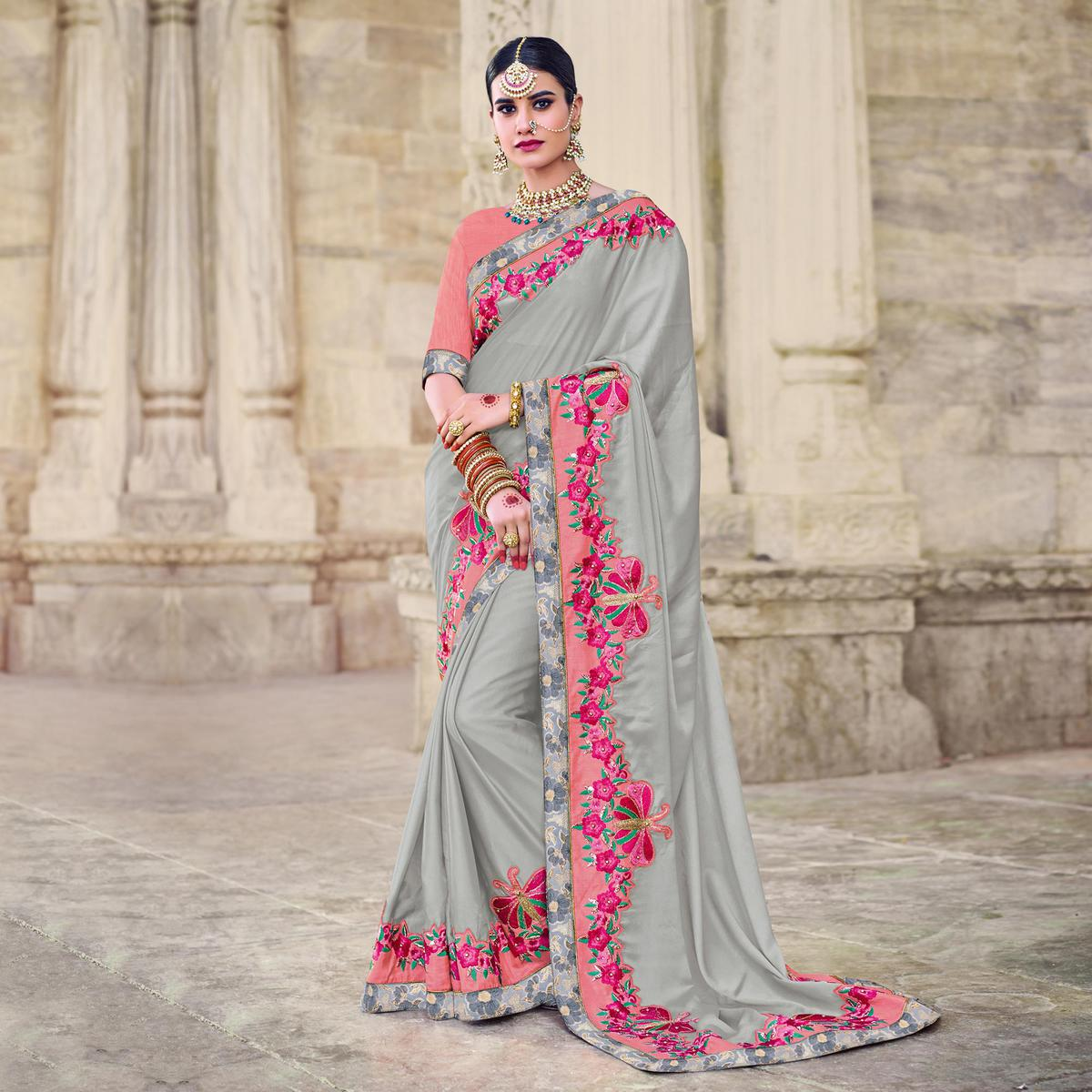 Gorgeous Grey Designer Embroidered Georgette Saree