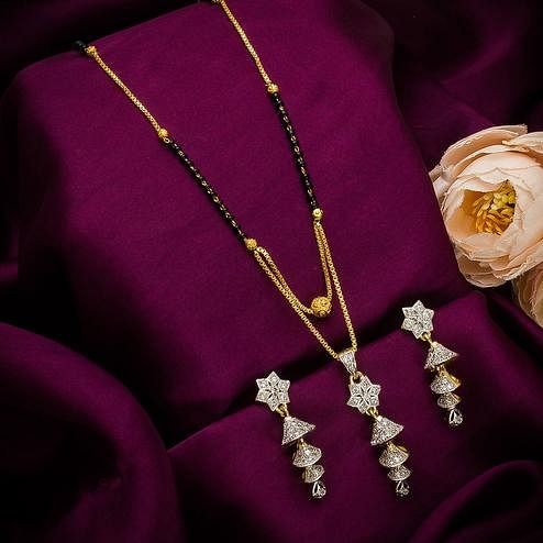 Gorgeous Gold Plated American Diamond Alloy Mangalsutra Set