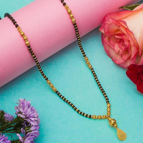 Impressive Gold Plated American Diamond Traditional Copper Mangalsutra