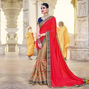 Dazzling Red And Beige Color Designer Embroidered Two Tone Silk And Moss Chiffon Saree