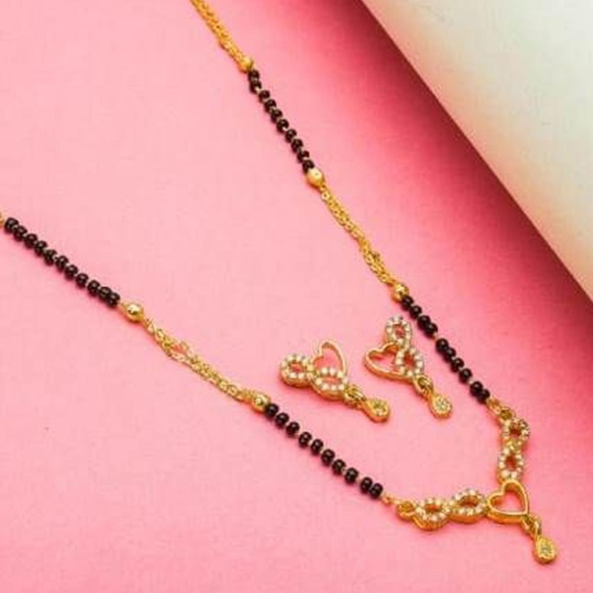 Energetic Gold Plated American Diamond Alloy Mangalsutra Set