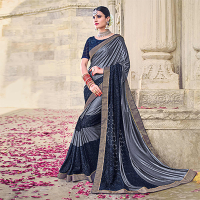Sizzling Grey And Navy Designer Imported Lycra Jacquard And Lycra Sparkle Saree