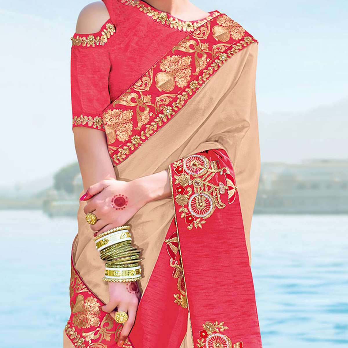 Classy Beige Designer Embroidered Georgette Saree