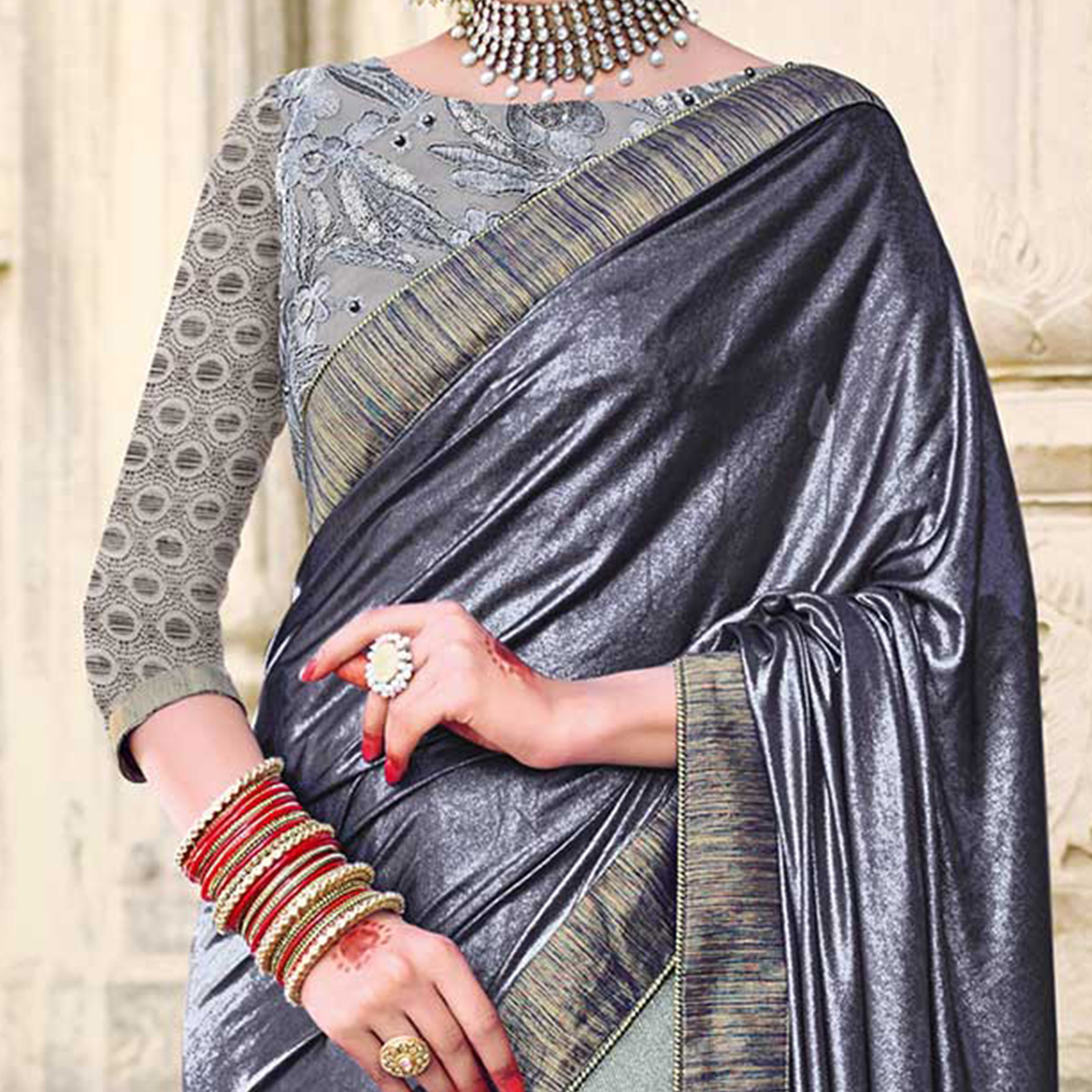 Stunning Grey Color Designer Embroidered Two Tone Lycra And Net Lycra Jacquard Saree