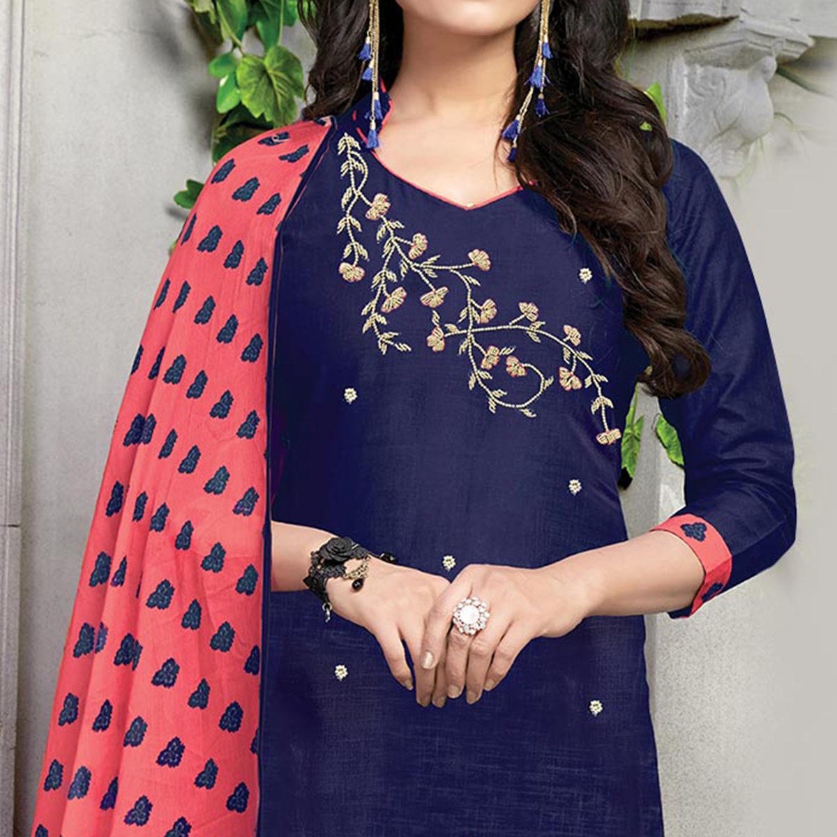 Dazzling Navy-Pink Embroidered And Printed Cotton Dress Material