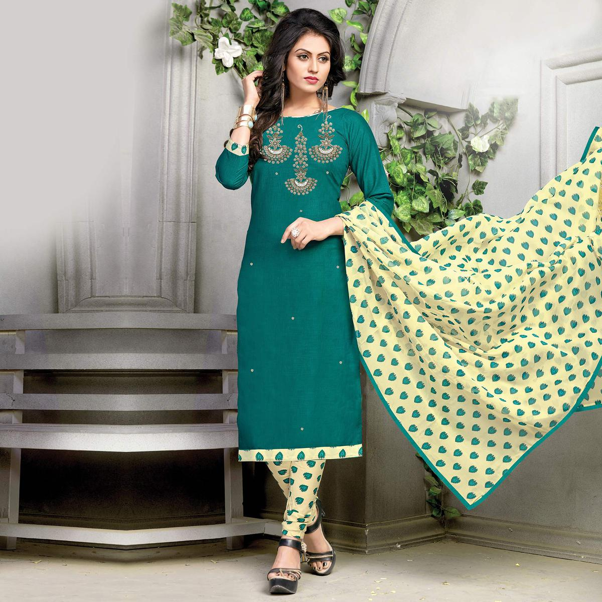 Stunning Green-Yellow Embroidered And Printed Cotton Dress Material