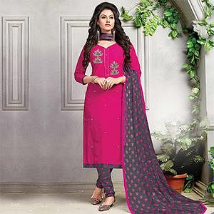 Adorable Pink Embroidered And Printed Cotton Dress Material
