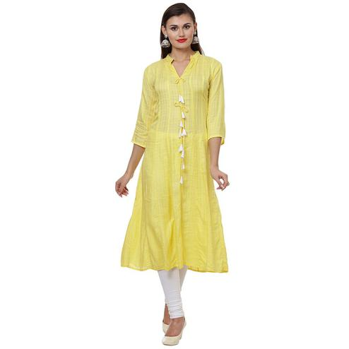 Trendy Yellow Colored Casual Wear Solid A-Line Cotton Kurti