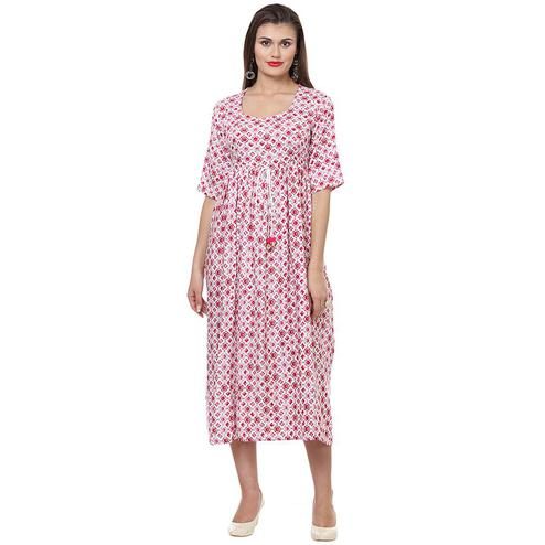 Radiant Pink Colored Casual Wear Printed A-Line Rayon Kurti