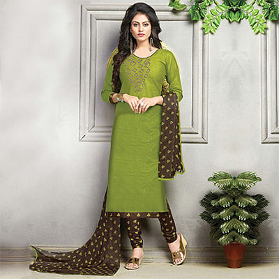 Ravishing Green Embroidered And Printed Cotton Dress Material