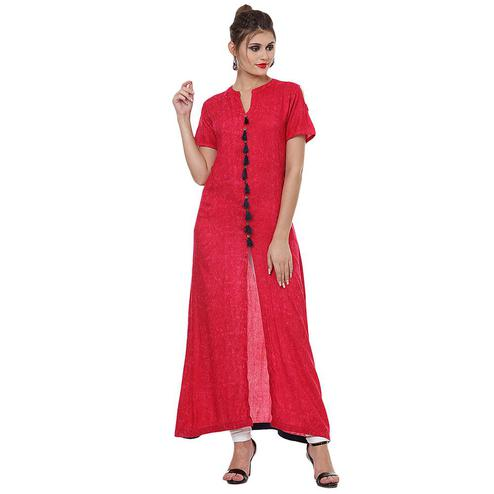 Energetic Pink Colored Casual Wear Solid Straight Rayon Kurti