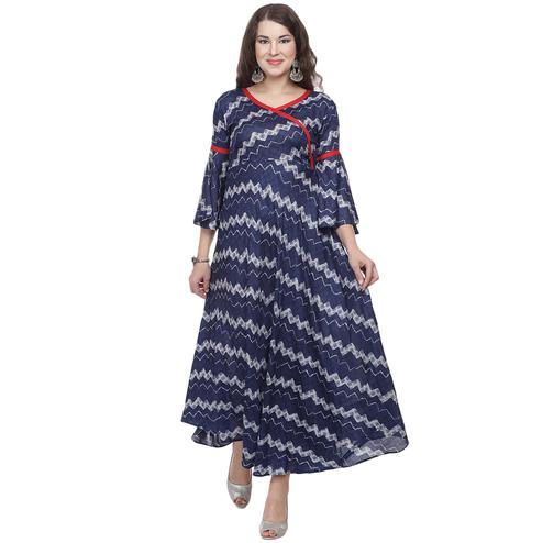 Glowing Blue Colored Casual Wear Printed A-Line Rayon Kurti