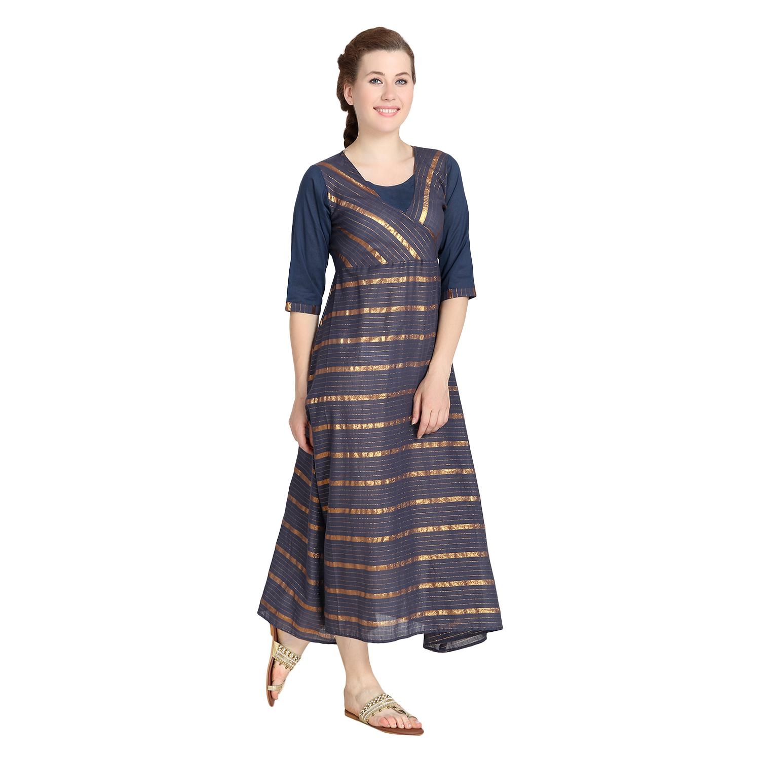 Exceptional Blue Colored Casual Wear Printed A-Line cotton Kurti
