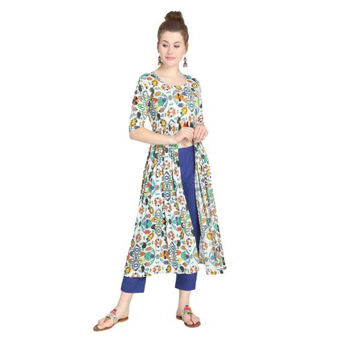 Gleaming Multi Colored Casual Wear Printed A-Line Rayon Kurti