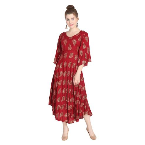 Mesmeric Maroon Colored Casual Wear Printed Fit And Flare Rayon Kurti