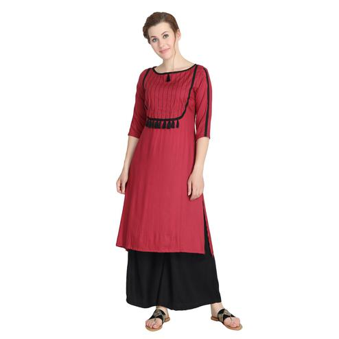 Demanding Maroon Colored Casual Wear Solid Straight Rayon Kurti