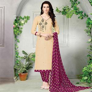 Flamboyant Beige-Pink Embroidered And Printed Cotton Dress Material