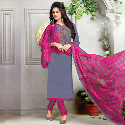 Attractive Gray-Pink Embroidered And Printed Cotton Dress Material