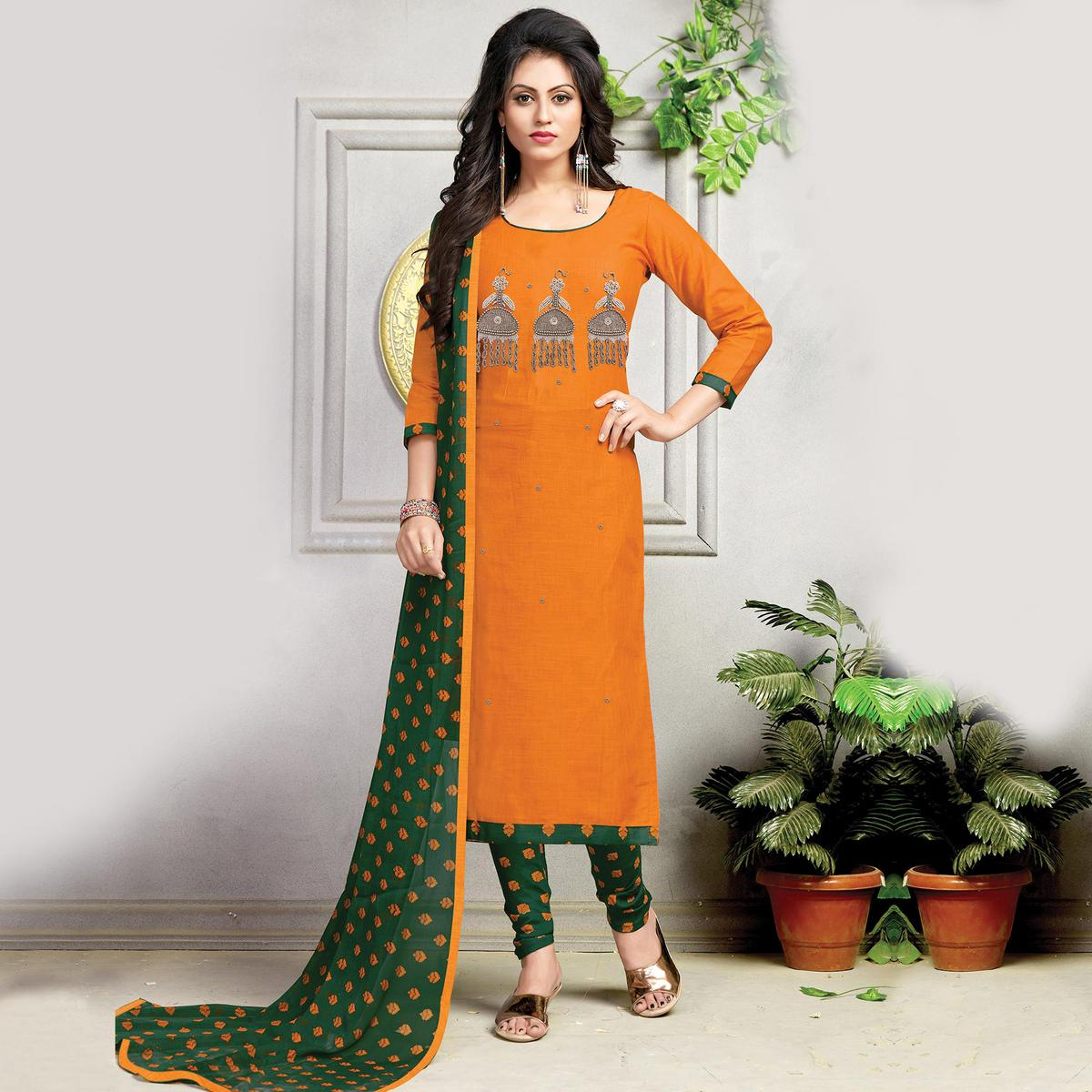 Graceful Orange-Green Embroidered And Printed Cotton Dress Material