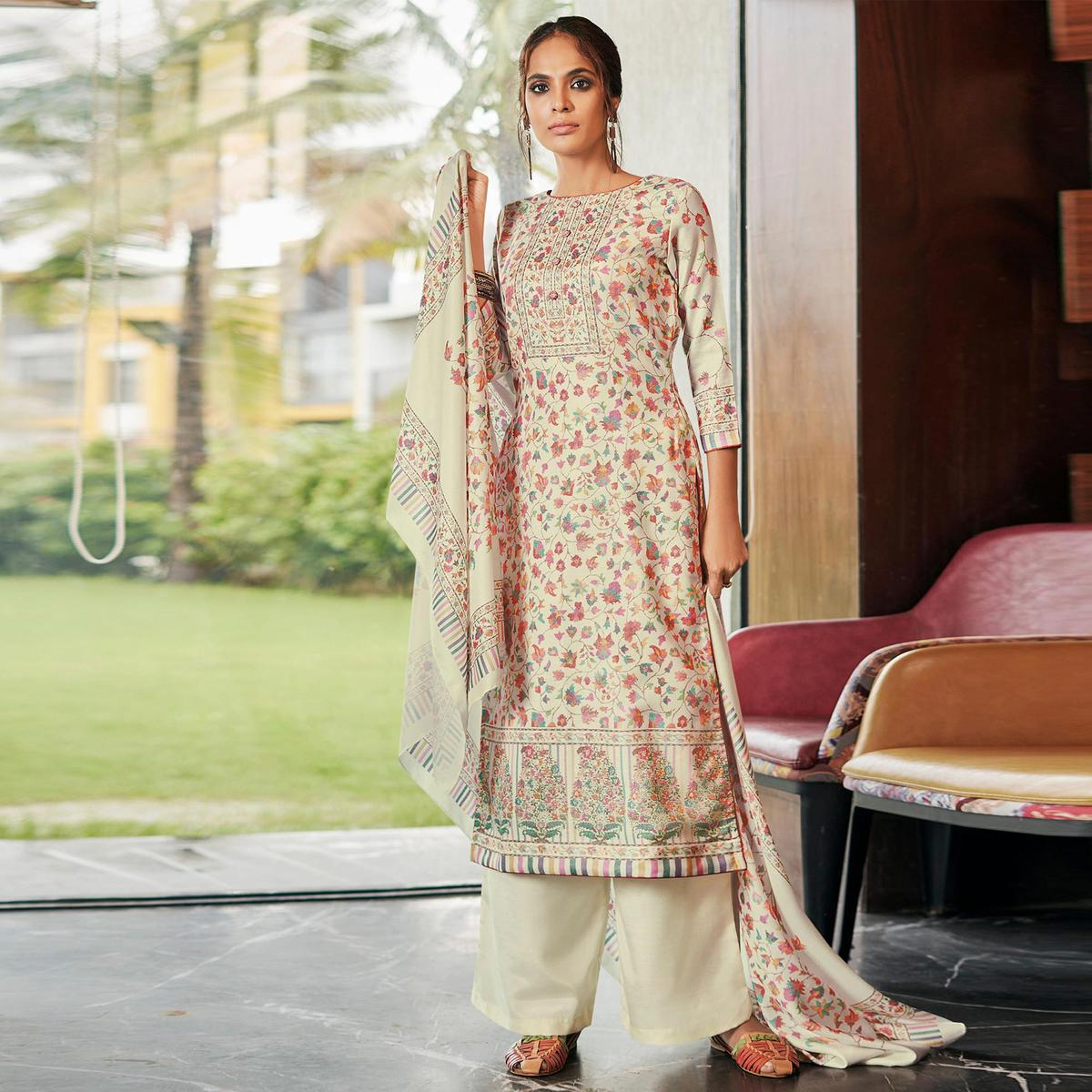 Stylee Lifestyle - Cream Colored Casual Wear Digital Printed Pashmina Dress Material