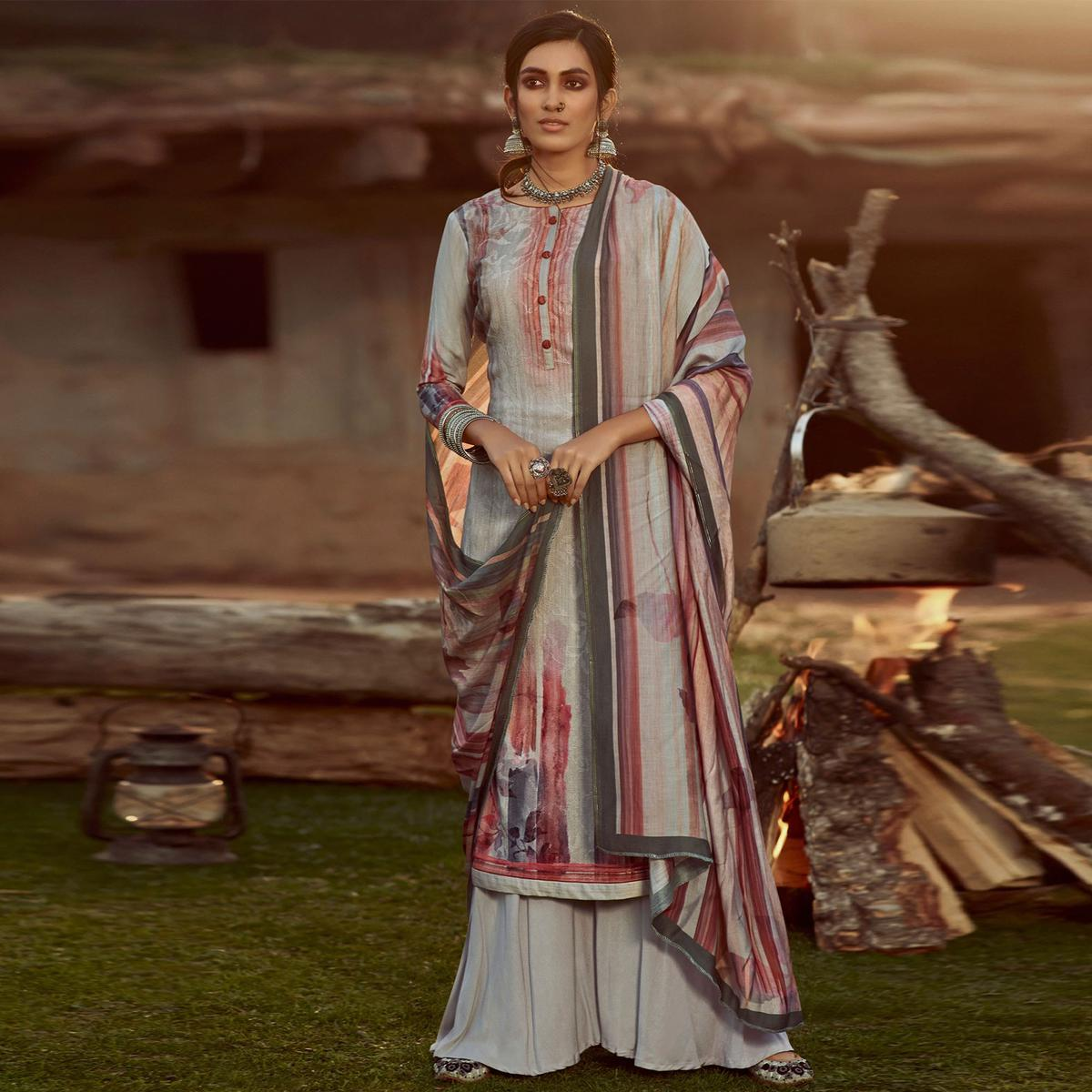 Stylee Lifestyle - Grey Colored Casual Wear Digital Printed Pashmina Dress Material