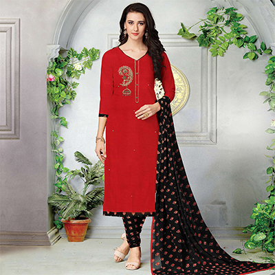 Classy Red-Black Embroidered And Printed Cotton Dress Material