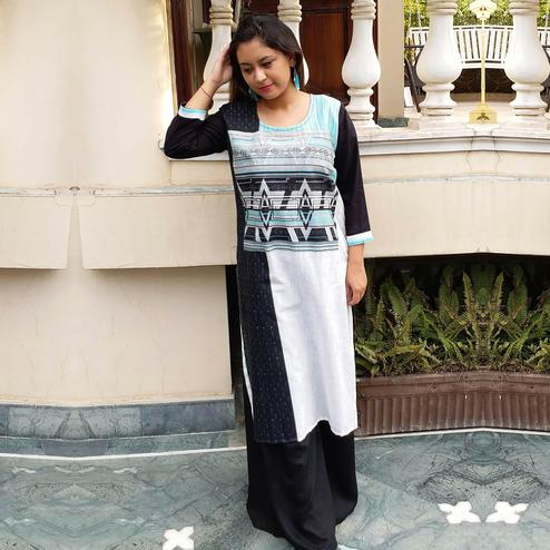 Hypnotic Black-White Colored Casual Wear Printed Straight Cotton Kurti