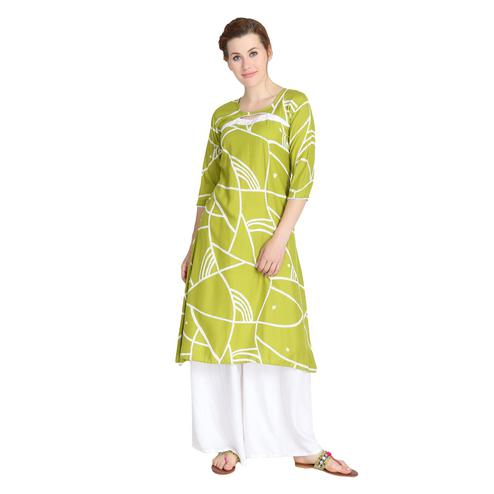 Excellent Green Colored Casual Wear Printed A-Line Rayon Kurti
