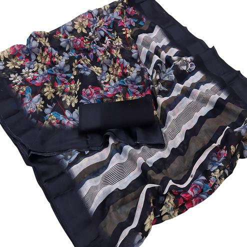 Pretty Black Colored Casual Wear Floral Printed Cotton Saree