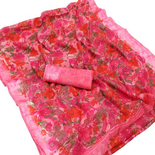 Alluring Pink Colored Casual Wear Floral Printed Cotton Saree