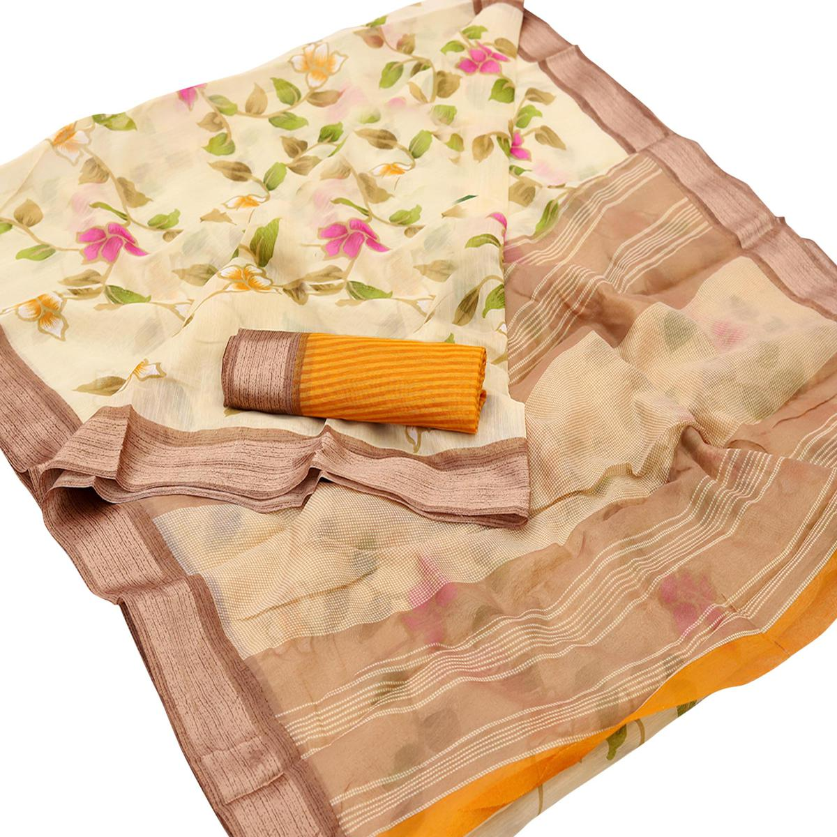 Flaunt Cream Colored Casual Wear Floral Printed Cotton Saree