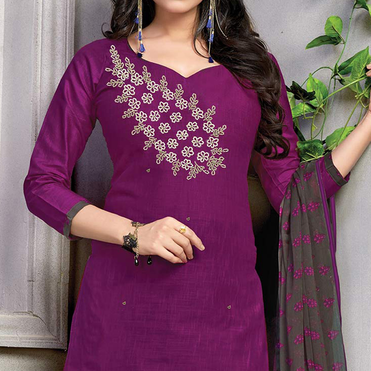 Charming Purple Embroidered And Printed Cotton Dress Material