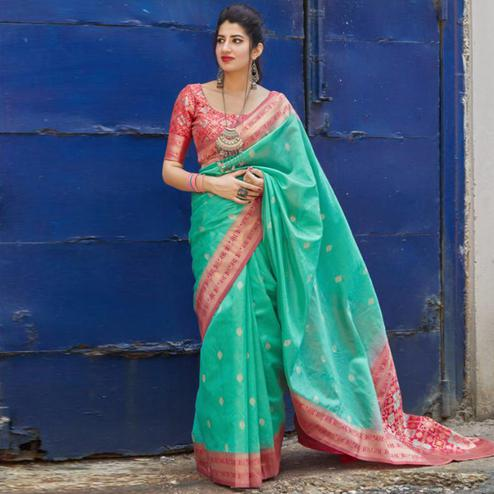 Beautiful Aqua Green Colored Festive Wear Woven Banarasi Art Silk Saree