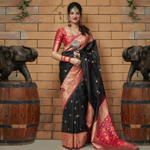 Charming Black Colored Festive Wear Woven Banarasi Art Silk Saree