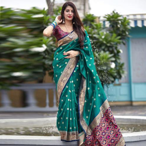 Jazzy Turquoise Green Colored Festive Wear Woven Banarasi Art Silk Saree