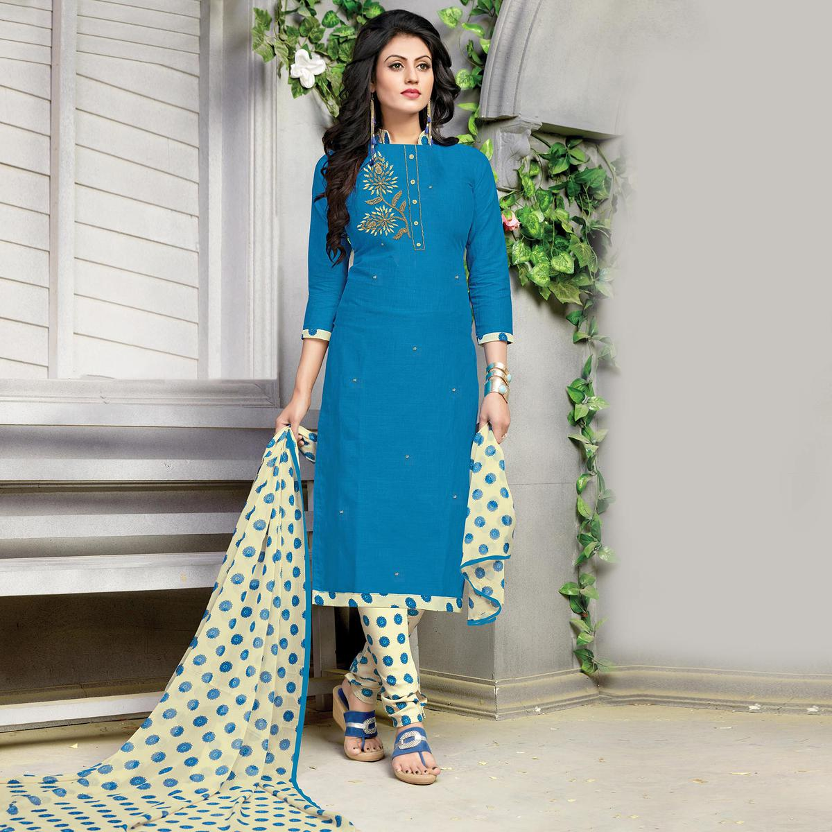 Gorgeous Blue Embroidered And Printed Cotton Dress Material