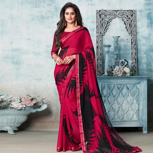 Lovely Majenta Pink Colored Partywear Printed Chiffon Saree