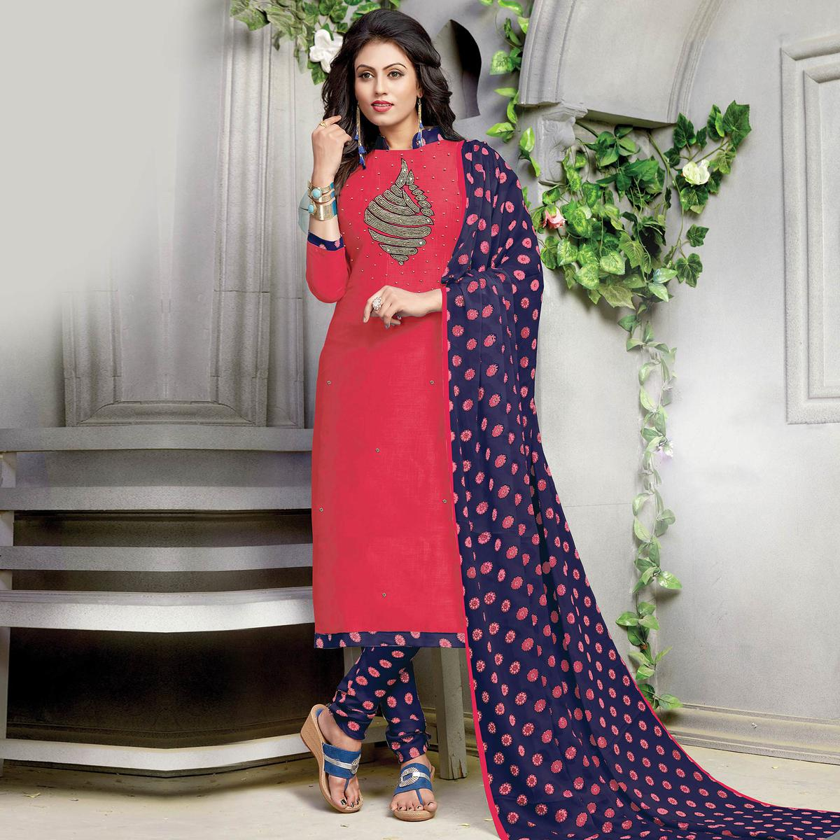 Elegant Rani Pink Embroidered And Printed Cotton Dress Material