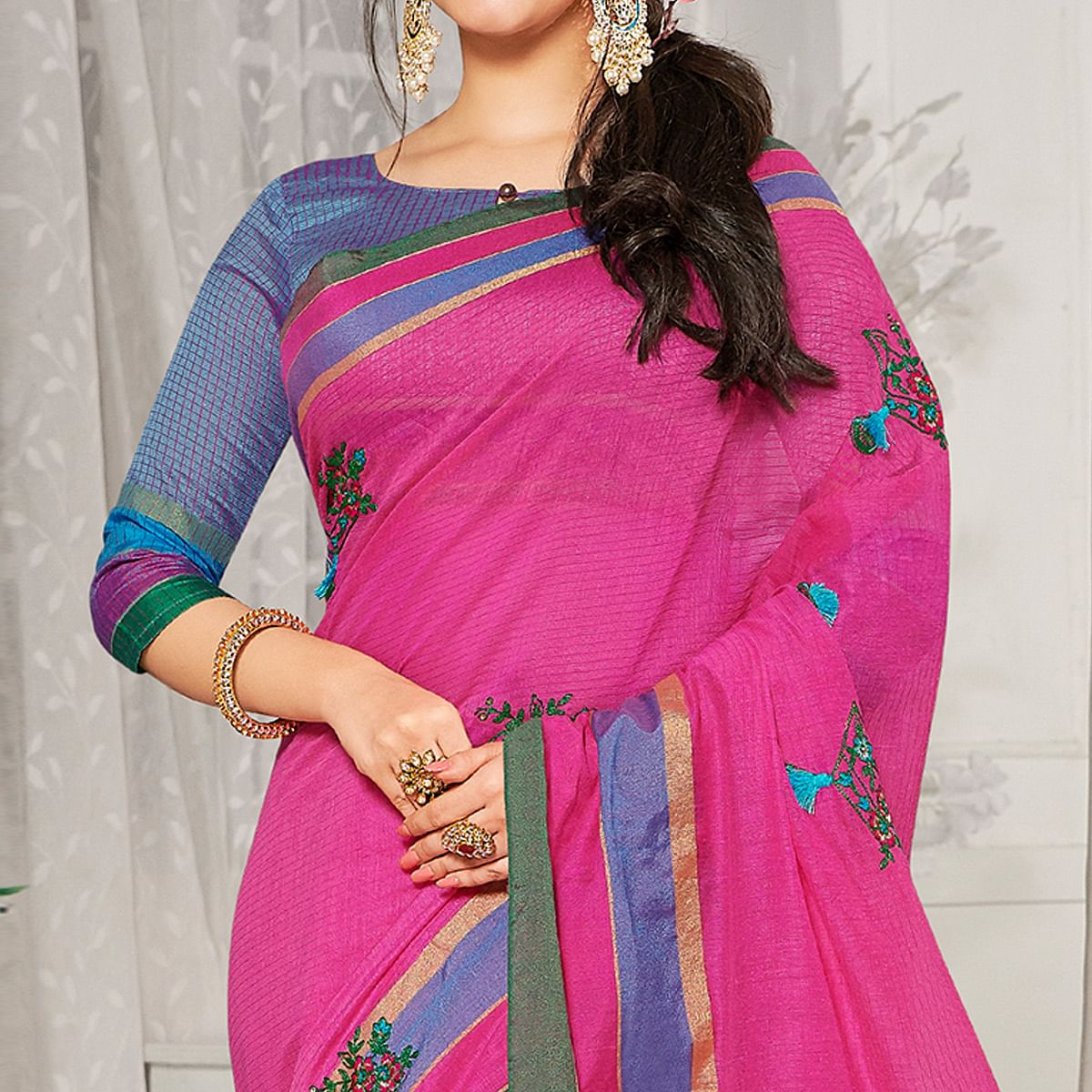 Arresting Pink Colored Festive Wear Embroidered Cotton Silk Saree