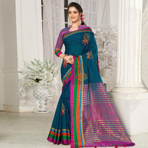 Desirable Teal Blue Colored Festive Wear Embroidered Cotton Silk Saree