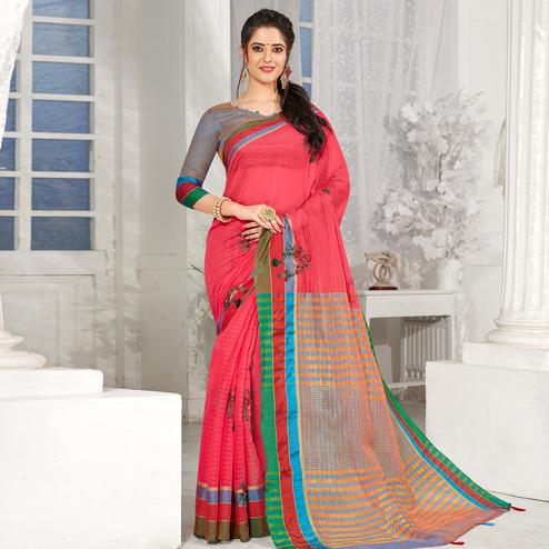 Sophisticated Peach Colored Festive Wear Embroidered Cotton Silk Saree