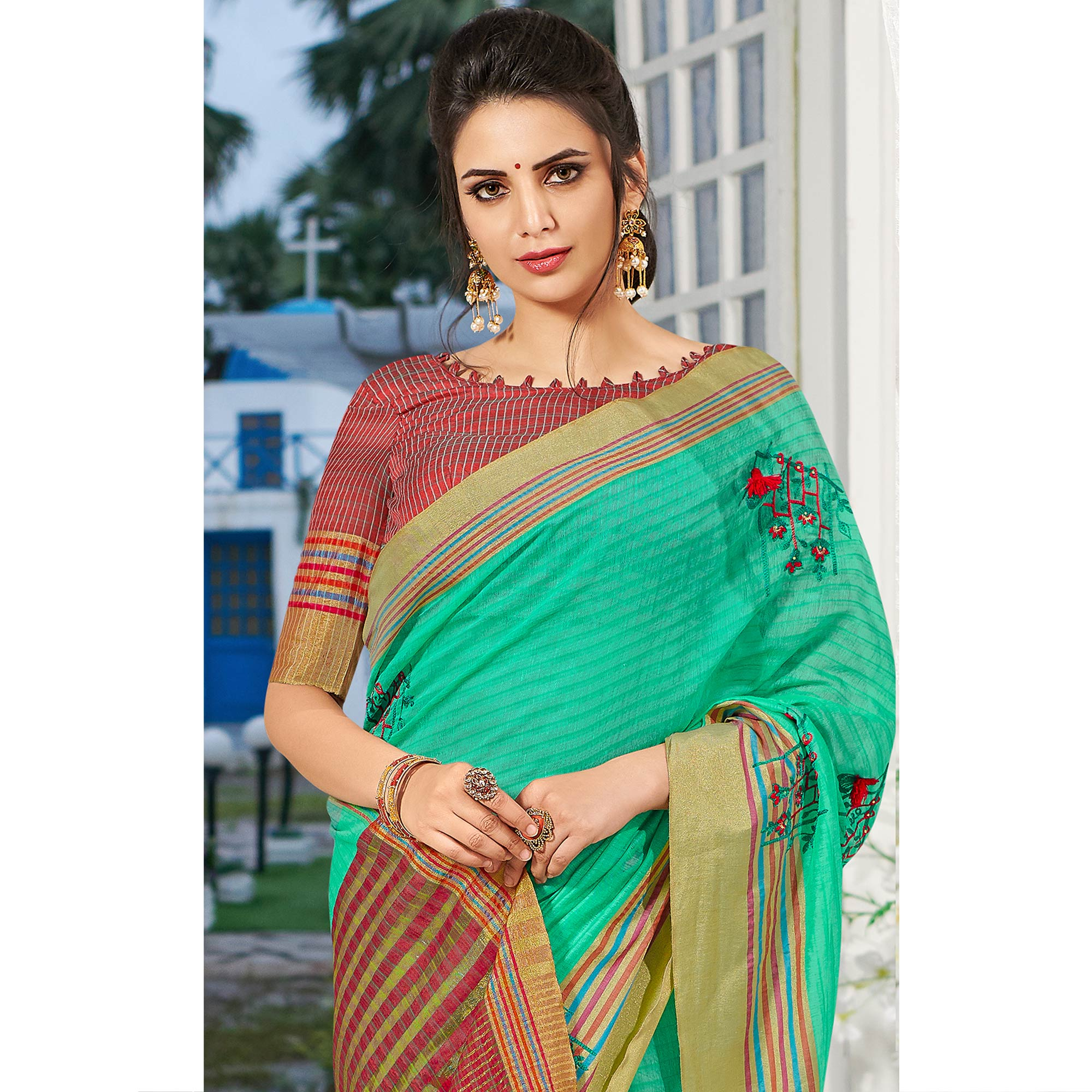 Trendy Aqua Green Colored Festive Wear Embroidered Cotton Silk Saree