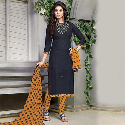 Stylish Black Embroidered And Printed Cotton Dress Material