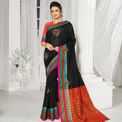 Elegant Black Colored Festive Wear Embroidered Cotton Silk Saree
