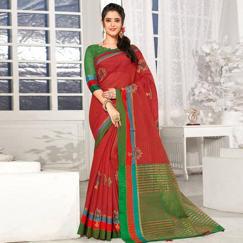 Radiant Red Colored Festive Wear Embroidered Cotton Silk Saree