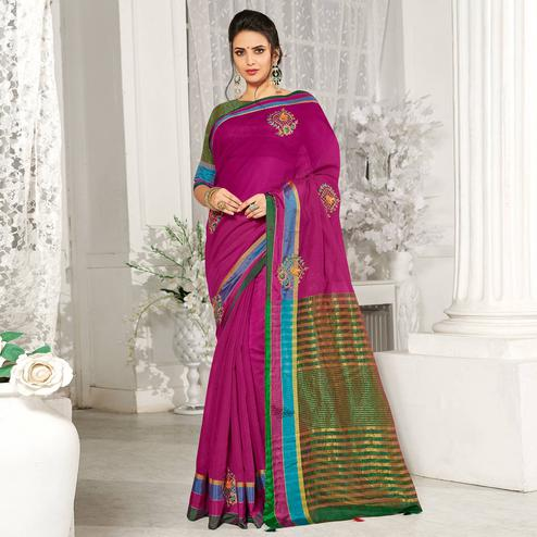Energetic Purple Colored Festive Wear Embroidered Cotton Silk Saree