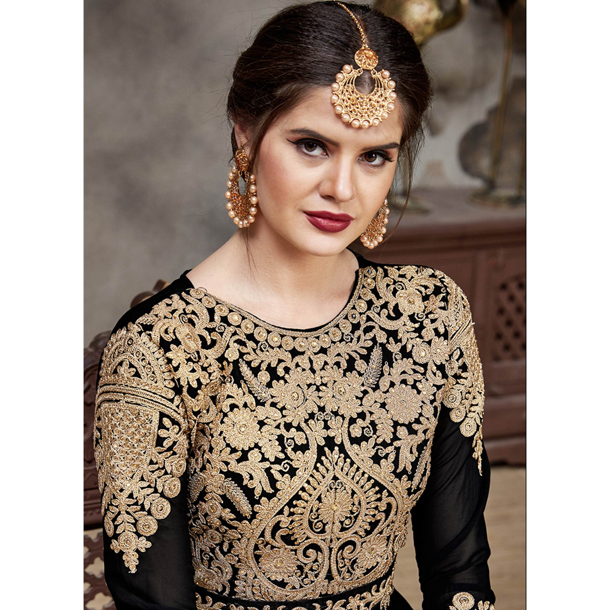 Exceptional Black Colored Partywear Embroidered Faux Georgette Anarkali Suit