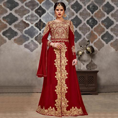 Gleaming Maroon Colored Partywear Embroidered Faux Georgette Anarkali Suit