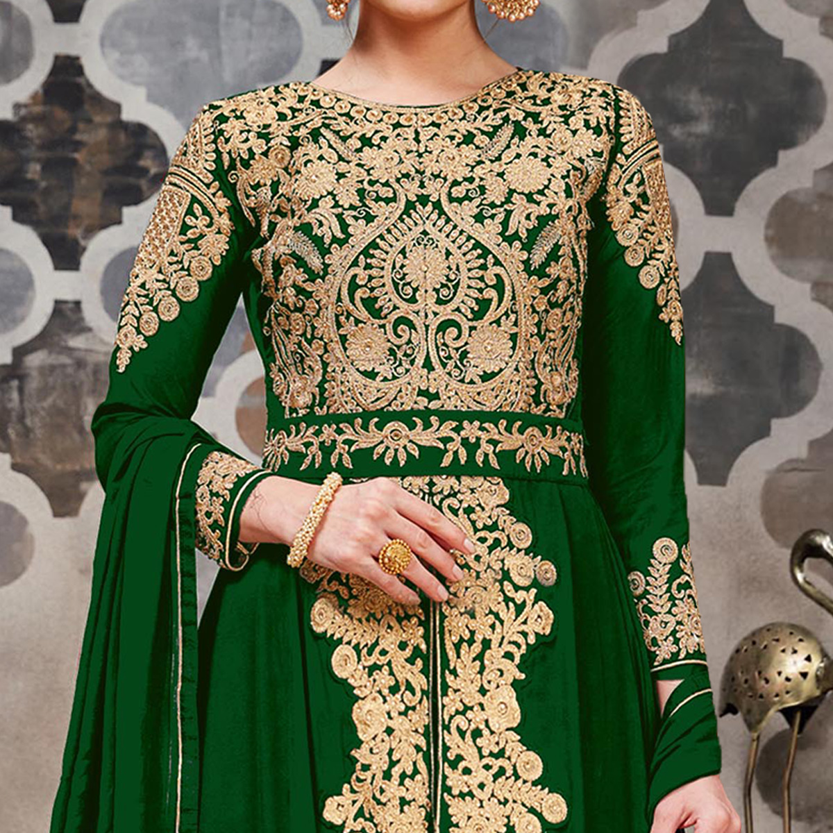 Mesmeric Green Colored Partywear Embroidered Faux Georgette Anarkali Suit
