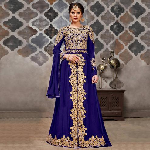 Unique Blue Colored Partywear Embroidered Faux Georgette Anarkali Suit
